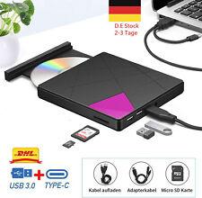 USB 3.0 Externes CD DVD Super Laufwerk Slim RW Brenner SD Karte Reader + Typ-C