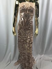 Embroider Sequins Fabric Rose Gold 4 Way Stretch Power Mesh Fashion Dress 1 Yard