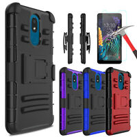 For LG Neon Plus (AT&T ) Case With Kickstand Belt Clip Cover + Screen Protector