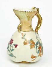 Antique Royal Worcester China Blush Ivory Ewer Shaped Vase with Flowers