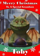 personalised Christmas card Edgar the Dragon  Any name/relation