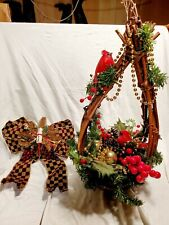Vintage Christmas Winter Centerpiece Arrangement w/ Cardinals Berry Bow