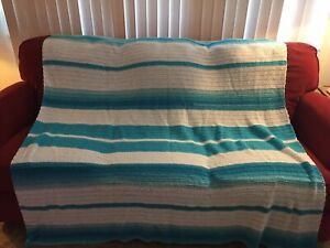 """Beautiful Afghan Teal and White Striped Hand made 61"""" x 64"""""""