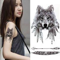 Temporäres Tattoo Wolf Design Temporary Klebetattoo Feder Körperkunst