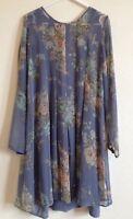 LAURA ASHLEY Chiffon Dress Ice Blue Size UK 10