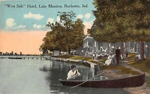 H63/ Rochester Indiana Postcard c1910 West Side Lake Manitou Hotel Boats 63