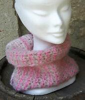 ECHARPE SNOOD TOUR DE COU FEMME ROSE GRIS PRUNE DORE FAIT MAIN PAR LES MIENNES