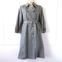 London Fog Maincoats Women's Double Breasted Lined Gray Trench Coat - Sz.12 Reg.