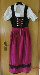 3-teiliges schwarz-pinkes Dirndl-Kleid mit Schürze und weißer Bluse in Größe 44