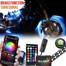 16pc Motorcycle LED Light Kit | Multi-Color Accent Glow Neon Strips w/ 3 Control