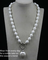 "June Pearl South Sea Baroque White Shell Pearl Necklace 20"" 25mm & Pendant"
