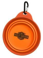 Harley-Davidson Bar & Shield Collapsible Pet Travel Water & Food Bowl - Orange