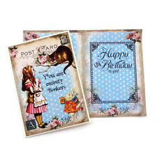 NEW Card Alice in Wonderland UN Birthday Retro Card-Cheshire Cat- Entire Bonkers