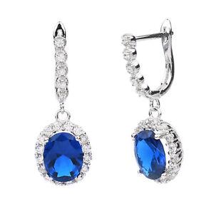 Elegant Oval Stone Women Dress Sterling Silver Huggie Earrings with Piercing