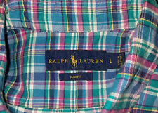 Polo Ralph Lauren Mens Twill Button-Up Dress Shirt Large L Slim Fit