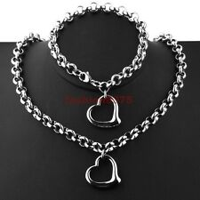 Fashion Women's Silver Stainless Steel Round Rolo Heart Necklace Bracelet Set