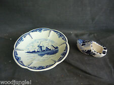 Vintage Delft Blue Holland Elesva Shoe Ashtray Plate Windmill Wooden Dutch