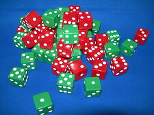 NEW 6 ASSORTED OPAQUE DICE 16mm RED AND GREEN, 2 COLORS 3 OF EACH COLOR