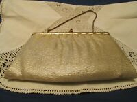 Vintage Gold Lame Purse with Gold Metal Strap / Converts to Clutch Purse