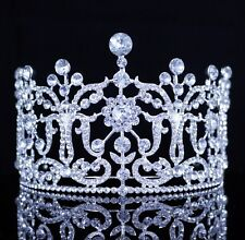 Large Floral Austrian Crystal Rhinestones Tiara Bridal Pageant Prom Wedding T26