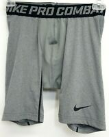 New Nike Pro Mens Athletic Compression Slim Dri-Fit Base-layer Gray Gym Shorts M