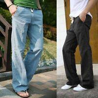 Summer Soft Mens Casual Linen Slacks, Loose Pants Beach Drawstring Long Trousers