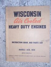 50s Wisconsin Heavy Duty Engine Acn Bkn Single Cylinder Manual 270B Parts List L