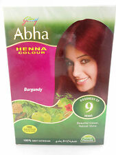 Godrej Abha Henna BURGUNDY Hair Color Powder 60gm FREE GLOVE AND BRUSH USA SELER