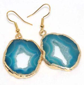 "Agate Geode Slice Gold Plated Handmade Gemstone Earrings 2"" Jewelry GW"
