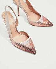 ZARA WOMEN SEQUINNED HIGH HEEL SLINGBACK SHOES PINK  SZ 7.5 NEW