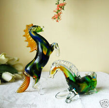 Pair_Rearing & Reclining Horses Murano Art Glass Artistic Figurine Italy Made