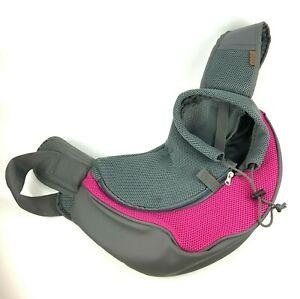 Yudodo Dog Pet Carrier Size Medium Sling Bag Pink Gray Mesh Padded Straps