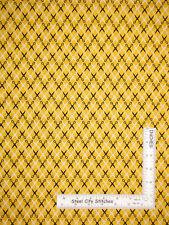 Scissors Geometric Black Yellow Cotton Fabric Kaufman Sewing Studio By The Yard