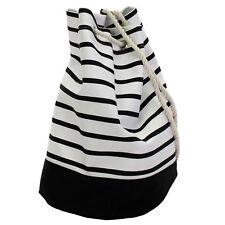 Rucksack Beutel Seesack Streifen schwarz weiß 42x27cm