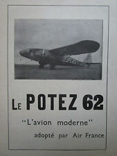 1930'S PUB AVIONS HENRY POTEZ 62 AIR FRANCE / UCA FARMAN 222 420 ORIGINAL AD