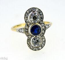 Antique Victorian 3 Stone Burma Sapphire Diamond Ring with Diamond Border