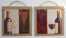 2 Grapes Wine Bottle Wall Plaque Decor Art Hang Bistro Resto Blanc Rouge
