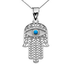 14k White Gold Evil Eye Turquoise Stone Filigree Hamsa Hand Pendant Necklace