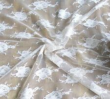 7,80 EUR/Lfm Creme Spitzenstoff ELASTISCH Spitze FLORAL Showtanzkleid  Stoff