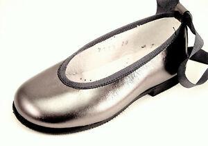DE OSU - European Silver Gray Leather Dress Ballet Flats -Girls Shoes Size 10-2