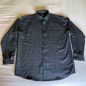Sir Pendleton 100% Wool Men's Navy Square Pattern Shirt Button Down Size Large