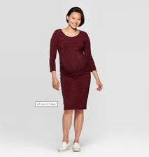 Isabel Maternity By Ingrid & Isabel 3/4 Sleeve Burgundy Red Striped Dress XL