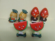 Vintage Anthropomorphic Fruits Dressed Up Salt & Pepper Shakers (3 sets, Japan)