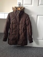 LADIES 'MISS SIXTY' BROWN QUILTED JACKET. SIZE MEDIUM/ SIZE 12. FUR HOOD.