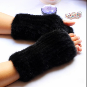 Women's Real Mink Fur Fingerless String Knitted Gloves Wrist Mittens Sleeves