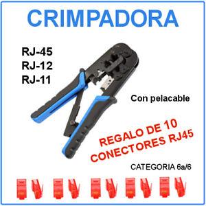 Crimpadora Tenaza RJ45 RJ12 RJ11 con muelle /  Regalo de 10 conectores RJ-45 cat