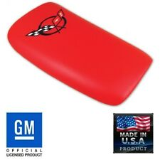 C5 CORVETTE CONSOLE LID PAD TORCH RED LEATHER BLACK CROSSFLAG EMBROIDERED EMBLEM