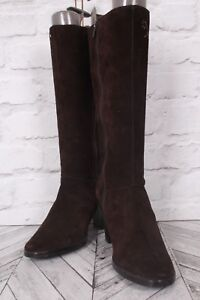 CLARKS Stiletto WINTER Boots Brown Suede Faux Leather Knee High Block EU 39 UK 6