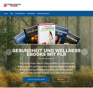 Shop mit 9 Gesundheit eBooks - Mobile optimiert  - PLR Lizenz - Shop Generator