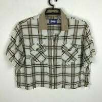 Vintage 1990s Blouse Size 26 28 Cropped Plaid Short Sleeve Cotton Beige Zip Top